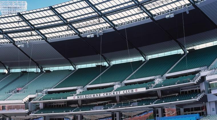 View of MCG stadium seating. arena, soccer specific stadium, sport venue, stadium, structure, black, teal