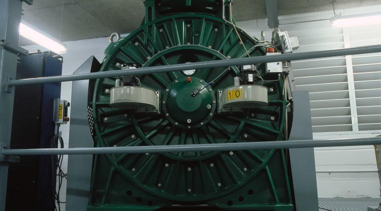 MX100 machine in lift machinery room. iron, machine, metal, motor vehicle, black, gray