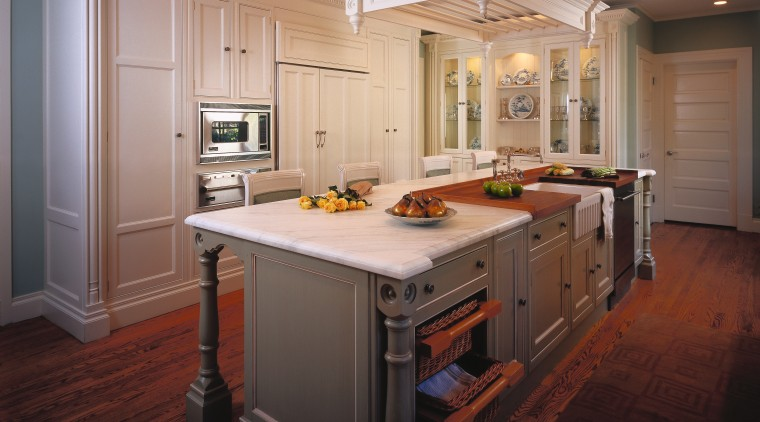View of kitchen with furniture style cabinets, large cabinetry, countertop, cuisine classique, floor, flooring, hardwood, interior design, kitchen, room, wood flooring, black, gray