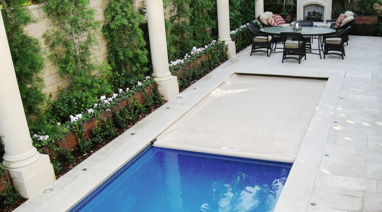 View of automatic pool covers by GB Pool backyard, estate, leisure, property, real estate, swimming pool, water, white