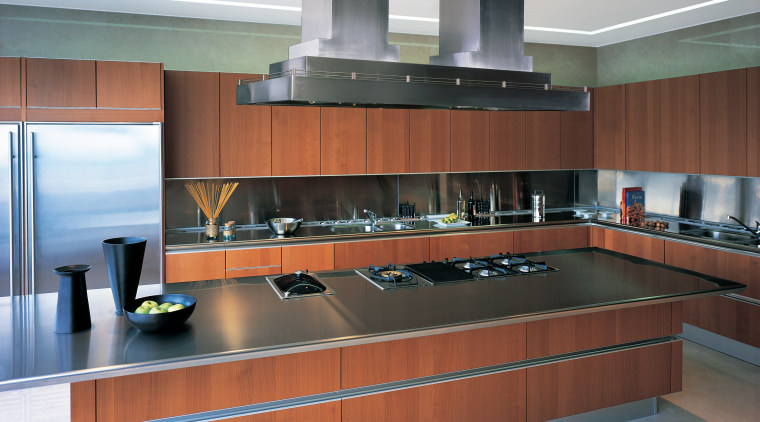 View of modern kitchen with brown wood cabinetry, cabinetry, countertop, interior design, kitchen, gray, brown