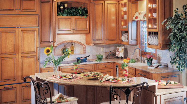 Kitchen with wood cabinetry, curved stone island with cabinetry, countertop, cuisine classique, interior design, kitchen, room, red, orange
