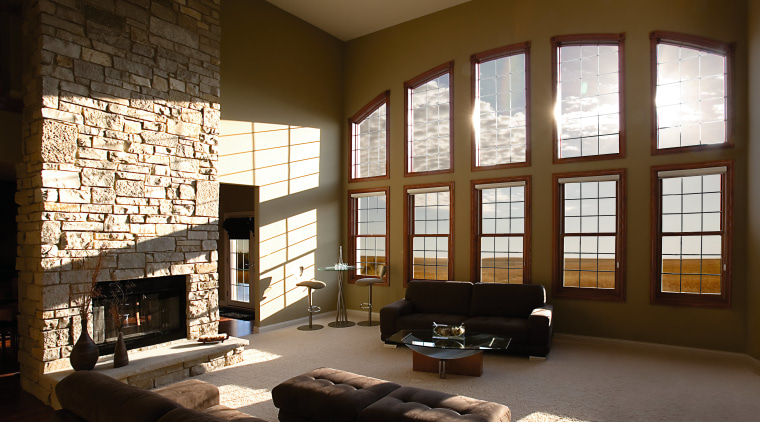 Lounge with large curved window feature along one architecture, ceiling, home, interior design, living room, room, wall, window, window covering, window treatment, wood, brown