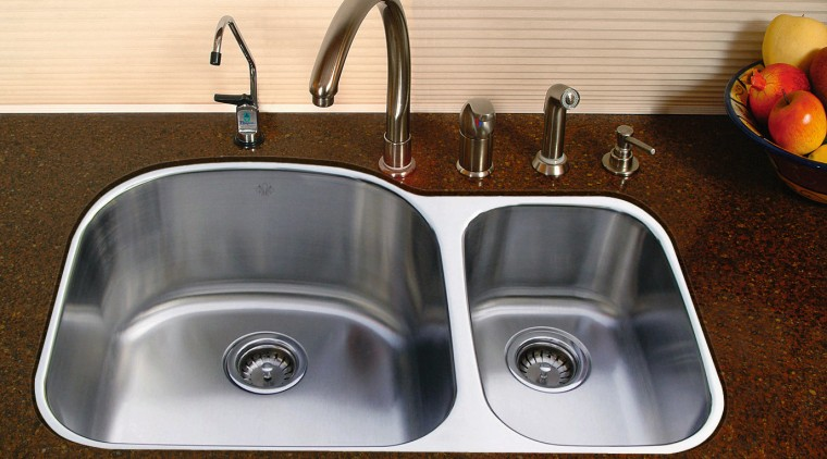 View of stainless steel kitchen sinks with Silestone bathroom sink, hardware, kitchen sink, plumbing fixture, product design, sink, tap, brown, orange