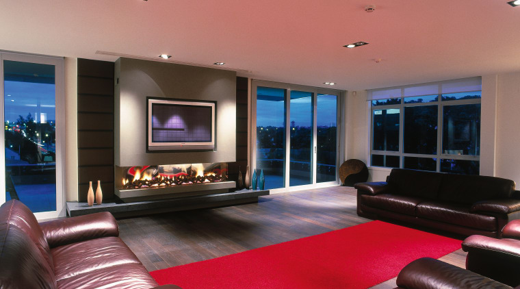 Lounge room with large gas fireplace with vases ceiling, home, interior design, living room, property, real estate, room, red, black