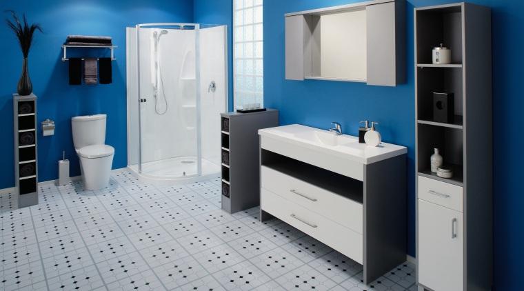 A view of a bathrom designed by Vogue bathroom, bathroom accessory, bathroom cabinet, blue, interior design, product, product design, room, gray