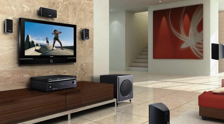 Lounge room with plasma tv on wall, with flat panel display, floor, flooring, interior design, living room, room, television, wall, orange