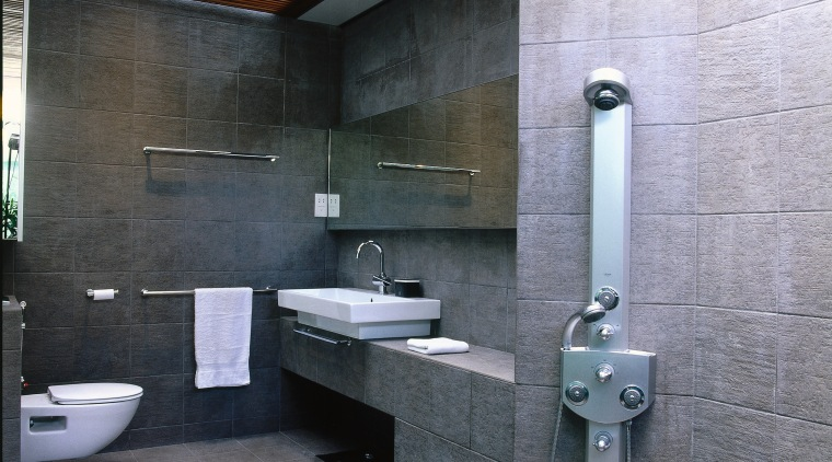 view of this bathroom that has a natural architecture, bathroom, interior design, public toilet, room, gray, black
