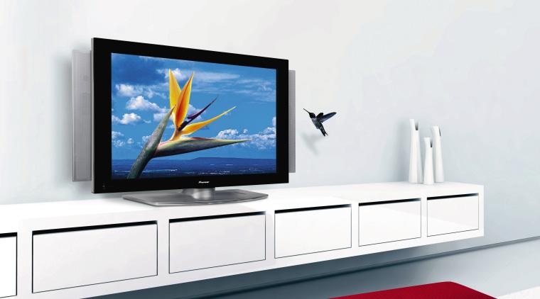 View of plasma tv on white shelving. display device, flat panel display, furniture, multimedia, product, product design, shelf, shelving, white