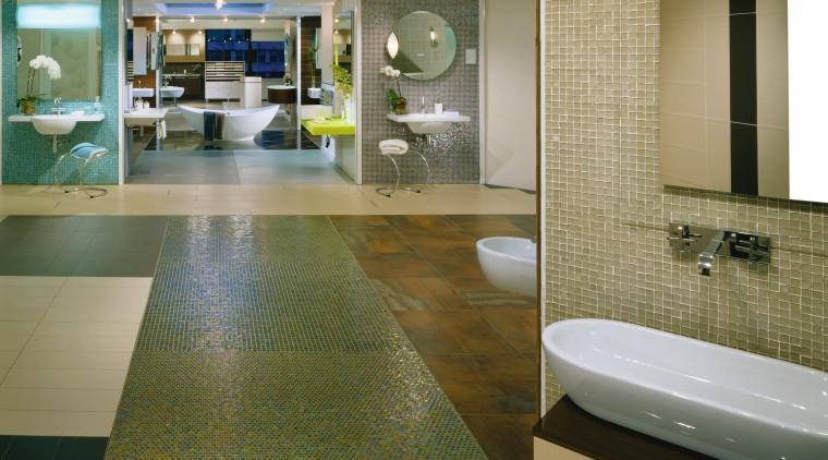 view of the bathroom showroom architecture, bathroom, ceiling, floor, flooring, interior design, room, tile, wall, wood flooring, brown