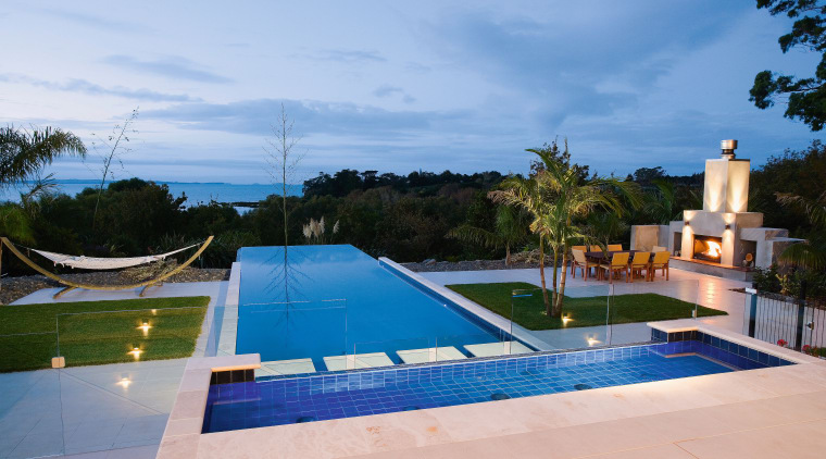 View of this infinity-edge pool built by Frontier estate, leisure, property, real estate, resort, sky, swimming pool, villa, water, teal