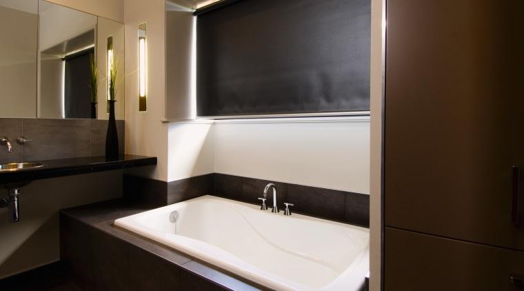 A view of a bathroom by NKBA. bathroom, interior design, room, sink, black