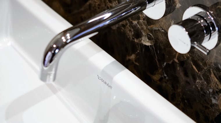 A view of a bathroom by NKBA. plumbing fixture, product design, sink, tap, white, black