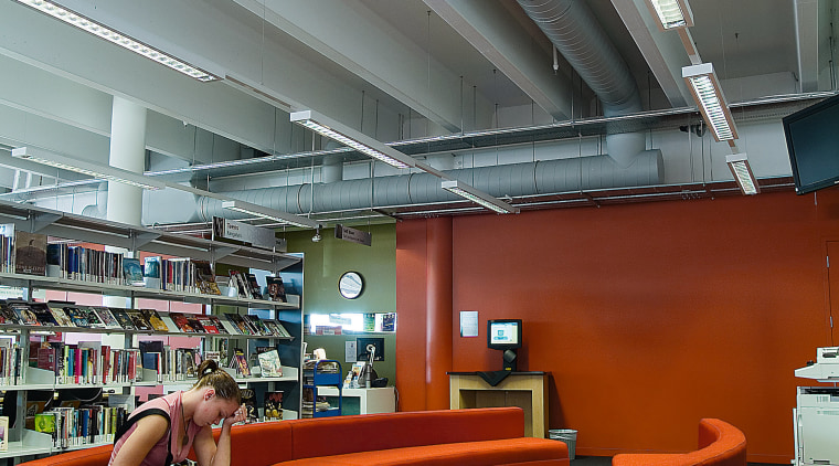 Civic library area with orange sofas, and view architecture, ceiling, daylighting, furniture, institution, interior design, library, gray, red