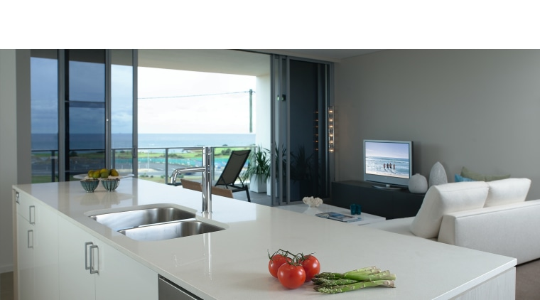 A view of a kitchen with some Miele furniture, interior design, product design, table, gray, white