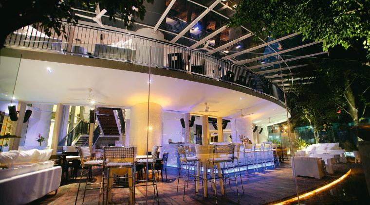 An exterior view of the restaurants exterior dining lighting, restaurant, black