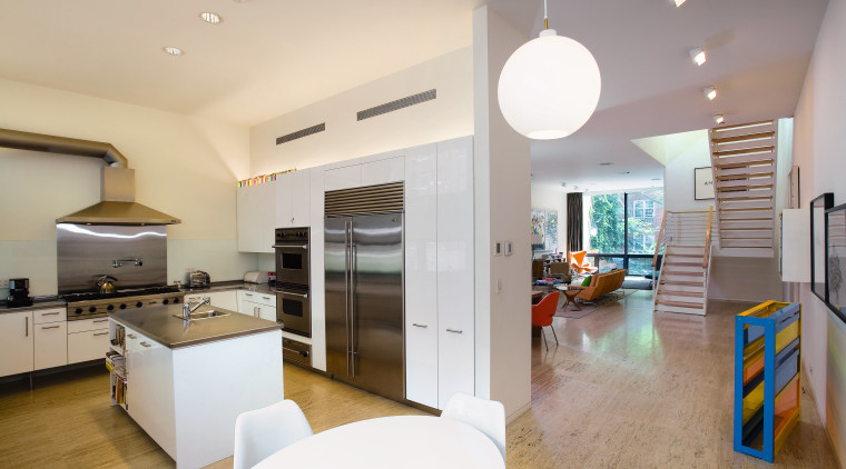 view of this kitchen featuring  travertie flooring, apartment, architecture, house, interior design, kitchen, real estate, room, gray