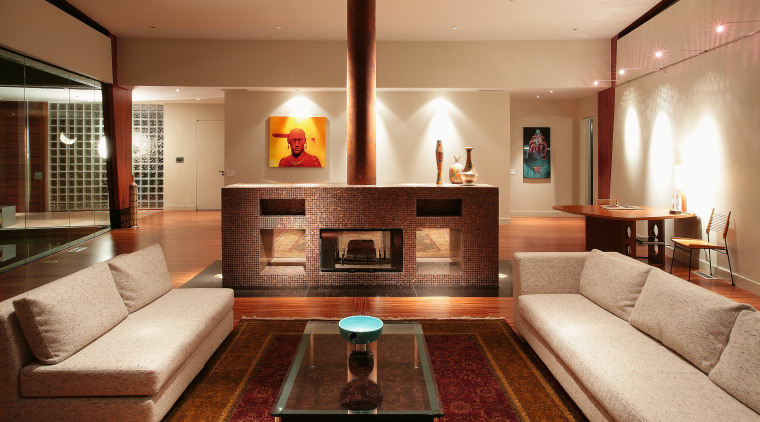 A view of the home entertainment system by ceiling, furniture, interior design, living room, lobby, real estate, room, orange, brown