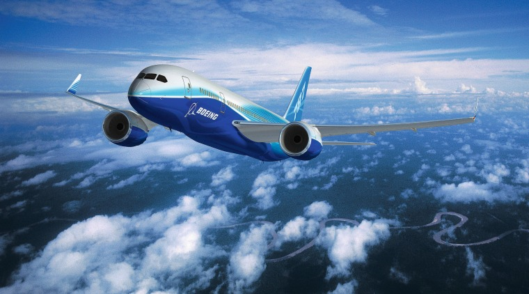An exterior view of the plane. aerospace engineering, air travel, airbus, aircraft, airline, airliner, airplane, aviation, boeing, boeing 787 dreamliner, daytime, flight, jet aircraft, mode of transport, narrow body aircraft, sky, wide body aircraft, blue, teal