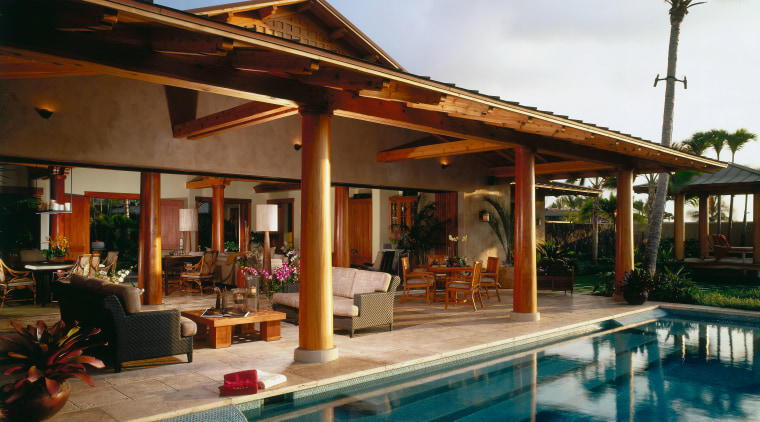 view of the outdoor entertaining area featuring  estate, hacienda, home, house, leisure, outdoor structure, patio, property, real estate, resort, swimming pool, villa, brown
