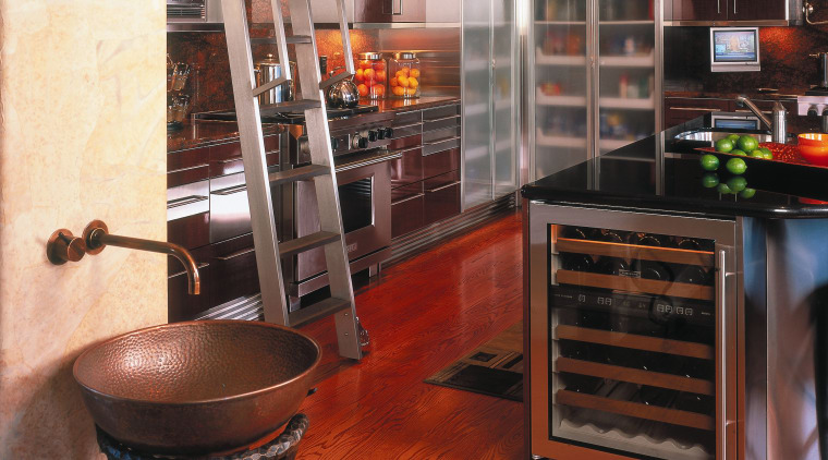 A view of a kitchen, wooden flooring and cabinetry, floor, flooring, furniture, hardwood, interior design, laminate flooring, loft, wood, wood flooring, black