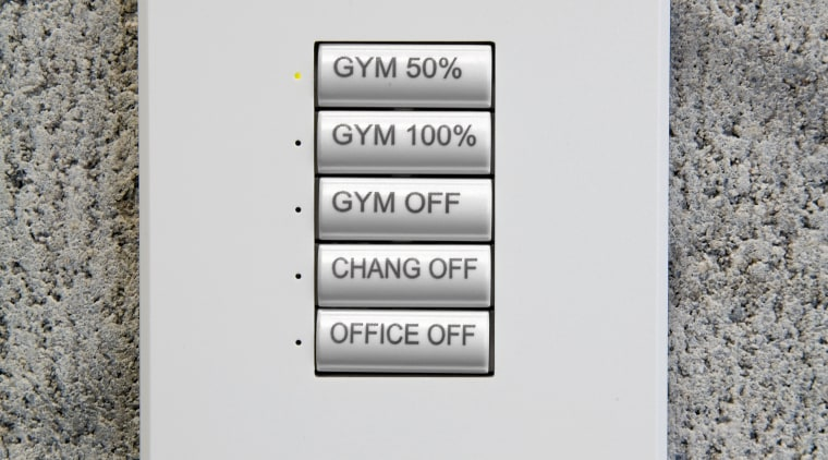 A view of the lighting system. font, product design, text, white, gray