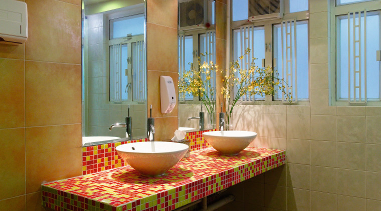 A view of the bathroom. architecture, bathroom, ceiling, floor, flooring, interior design, real estate, room, table, brown