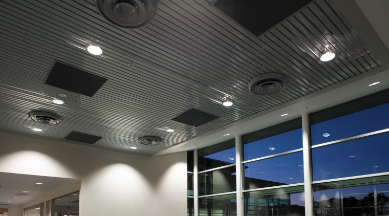 A view of the air conditioning system. architecture, ceiling, daylighting, daytime, lighting, black, gray