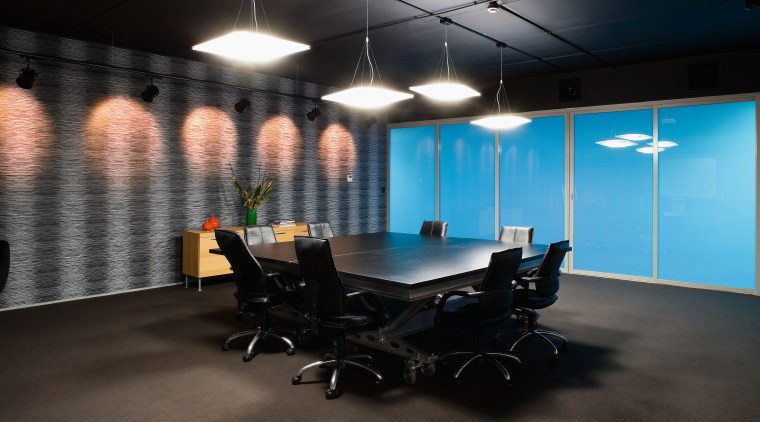 Cleancorp only uses eco-friendly products. ceiling, interior design, office, black