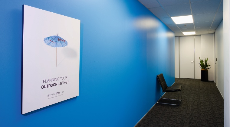 A view of the Trends Building. blue, product design, blue