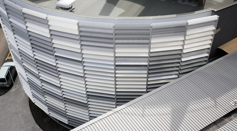 A view of the louvres. architecture, building, daylighting, line, material, metal, steel, structure, gray