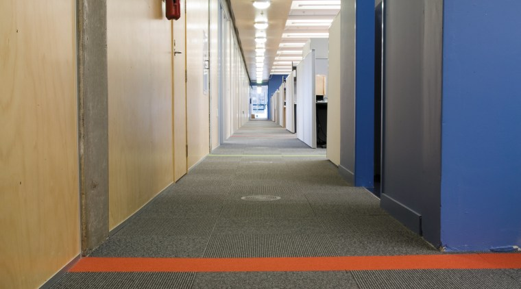A view of a Trox floor defuser. architecture, daylighting, floor, flooring, interior design, lighting, structure, gray, black