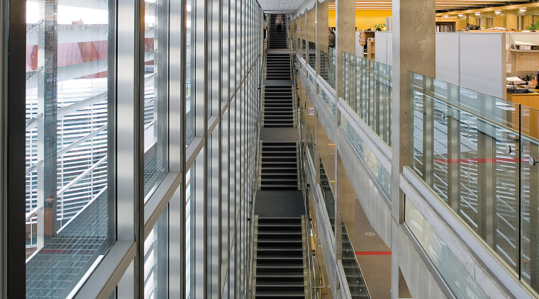 A interior view of the Waitakere Civic Centre. architecture, building, daylighting, glass, metropolitan area, gray