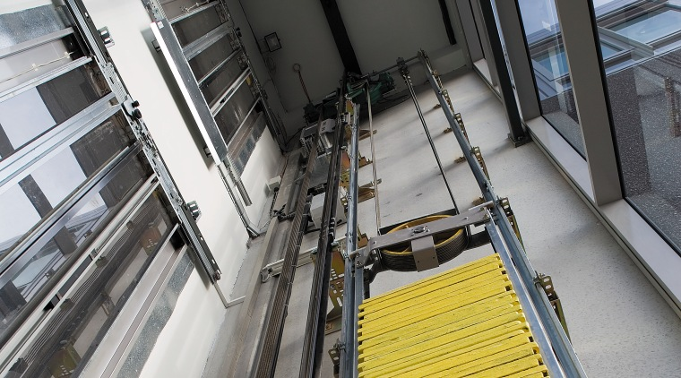 A view of a Kone Elevator. architecture, building, daylighting, metropolitan area, structure, black, gray