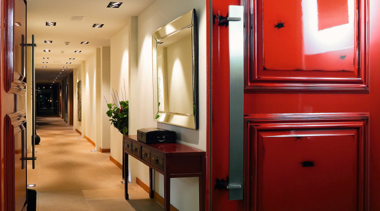 The Loui Corporation works in partnership with paint door, furniture, interior design, lighting, room, red