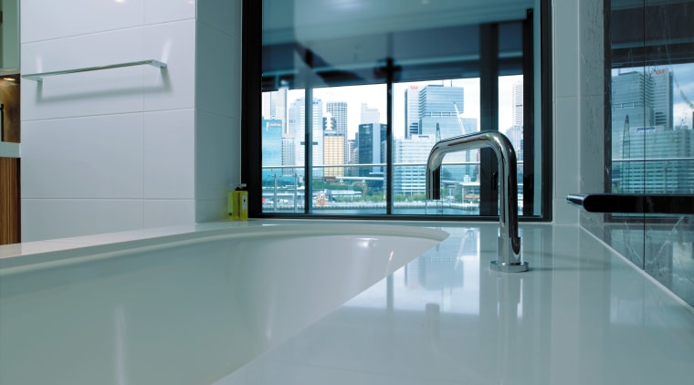 A view of some bathroom ware from Bathe. architecture, daylighting, floor, flooring, glass, interior design, property, real estate, tile, window, gray