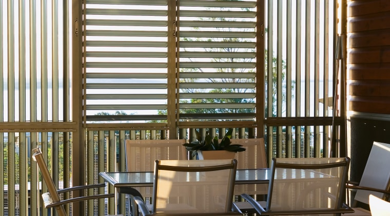 view of the lourvered shutters that were  daylighting, home, house, interior design, living room, outdoor structure, porch, real estate, shade, window, window blind, window covering, window treatment, wood, brown, black