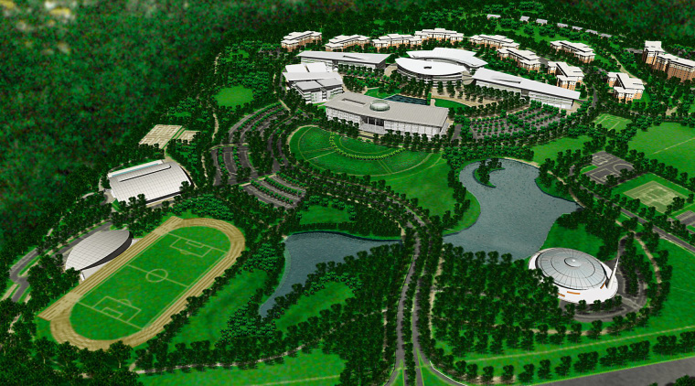 plan view of the grounds and nuilding layout aerial photography, bird's eye view, grass, green, sport venue, structure, urban design, green
