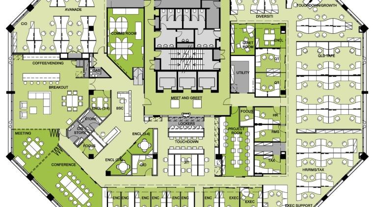 floor plan of the Accenture Australia Office area, design, elevation, floor plan, land lot, line, mixed use, neighbourhood, plan, real estate, residential area, suburb, urban design, yellow, white