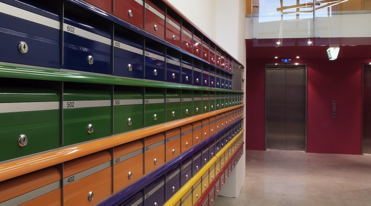 view of the colourful letter boxes for the floor, structure