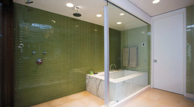 An extensive remodeling project has transformed this 1970s architecture, bathroom, ceiling, floor, glass, home, interior design, real estate, room, tile, window, gray, brown