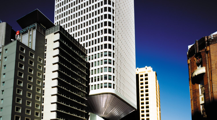 An exterior view of the building. architecture, building, city, cityscape, commercial building, condominium, corporate headquarters, daytime, downtown, hotel, landmark, metropolis, metropolitan area, mixed use, night, reflection, sky, skyline, skyscraper, tower, tower block, urban area, black