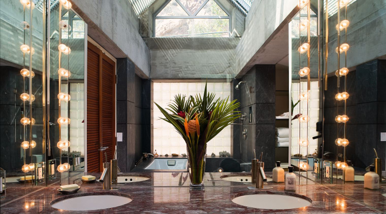 A view of a bathroom designed by David apartment, courtyard, home, interior design, lobby, window, black, gray