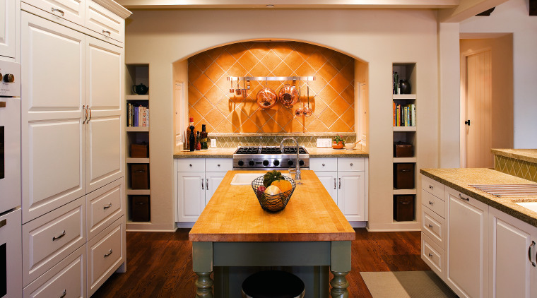 The cooking centre in the kitchen is positioned cabinetry, countertop, flooring, home appliance, interior design, kitchen, room, orange, gray, brown