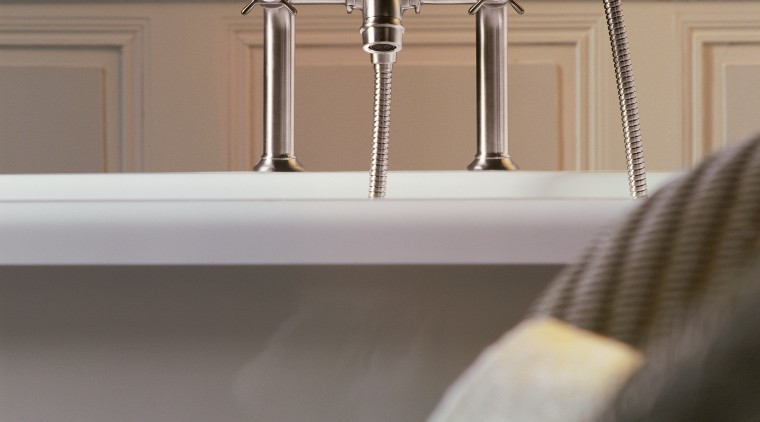 A view of some faucetry from Hansgrohe. bathroom, plumbing fixture, product design, sink, tap, gray
