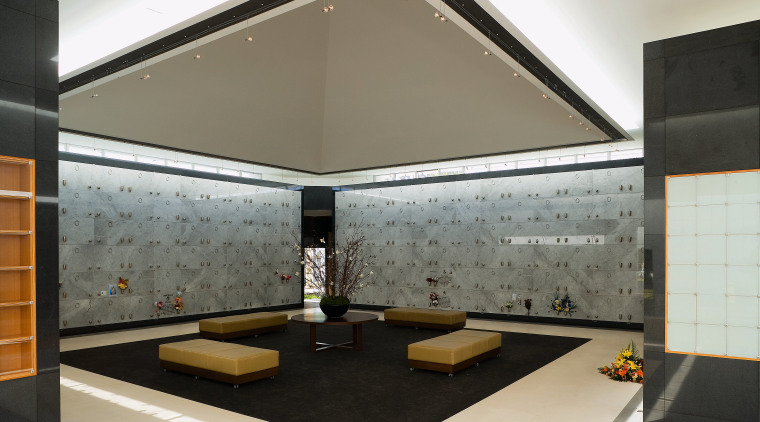 view of the marble crypts that line the architecture, ceiling, floor, flooring, interior design, lobby, product design, gray, black