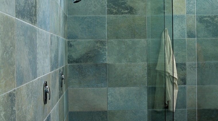 A view of a tiled shower from Ceramic architecture, bathroom, floor, flooring, glass, plumbing fixture, room, shower, tile, wall, gray