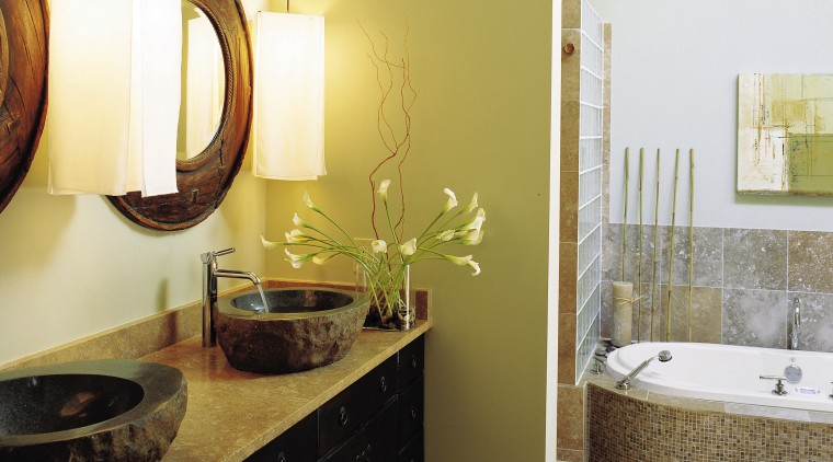 view if this bathroom by burns century featuring bathroom, countertop, floor, flooring, home, interior design, room, tile, wall, white
