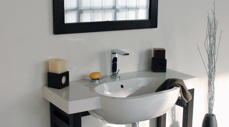 view of this bathroom featuring lacava bathroom furnishings bathroom, bathroom accessory, furniture, interior design, plumbing fixture, product design, sink, table, tap, gray