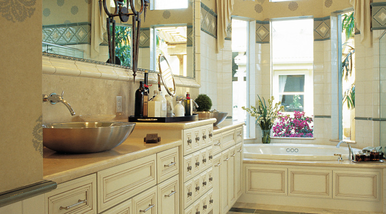 view of the bathroom featuring ARA timber cabinetry bathroom, cabinetry, ceiling, countertop, cuisine classique, floor, flooring, home, interior design, kitchen, room, window, brown